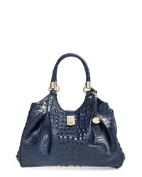 Brahmin | Blue 'elisa' Croc Embossed Leather Shoulder Bag | Lyst