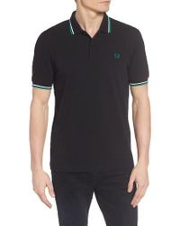 Fred Perry | Black Extra Trim Fit Twin Tipped Pique Polo for Men | Lyst
