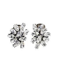 Ben-Amun | Metallic Swarovski Crystal Cluster Clip Earrings | Lyst