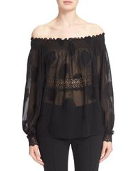 Yigal Azrouël - Black Smocked Fil Coupe Off The Shoulder Top - Lyst
