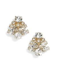 Marchesa | Metallic Crystal Stud Earrings | Lyst