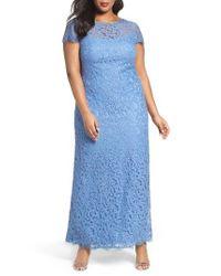 Tadashi Shoji | Blue Cap Sleeve Lace Gown | Lyst