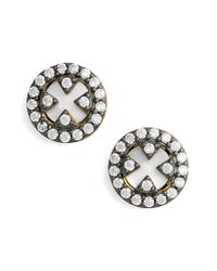 Freida Rothman - White 'harlequin' Pave Stud Earrings - Lyst