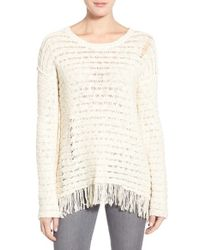 Pam & Gela - White Fringe Open Back Sweater - Lyst