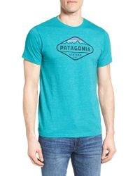 Patagonia - Gray 'fitz Roy Crest' Slim Fit Organic Cotton Blend T-shirt for Men - Lyst