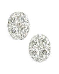 Bony Levy - Metallic 'mika' Pave Diamond Large Oval Stud Earrings - Lyst