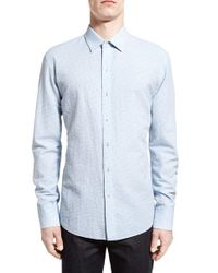 Zachary Prell - Blue 'elogan' Trim Fit Seersucker Stripe Sport Shirt for Men - Lyst