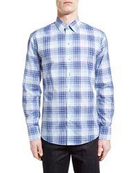 Zachary Prell Blue 'dd Check' Trim Fit Long Sleeve Sport Shirt for men