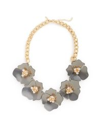TOPSHOP - Gray Large Flower Collar Necklace - Lyst