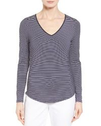 Nordstrom Collection | Blue Stripe Stretch Modal Top | Lyst