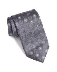 Canali - Gray Medallion Silk Tie for Men - Lyst