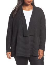 Eileen Fisher | Gray Ribbed Merino Wool Long Cardigan | Lyst