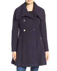 Guess | Blue Envelope Collar Double Breasted Coat | Lyst