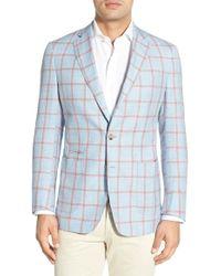 Peter Millar - Red 'hamptons' Windowpane Check Sport Coat for Men - Lyst