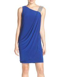 Betsy & Adam - Blue Embellished Strap Ruched Crepe Dress - Lyst