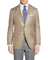 David Donahue - Metallic Classic Fit Windowpane Wool, Silk & Linen Blend Sport Coat for Men - Lyst