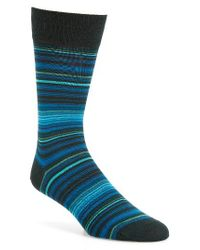 Bugatchi   Blue 'alternating Thin Stripe' Socks for Men   Lyst