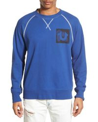 True Religion - Blue Raw Edge Sweatshirt for Men - Lyst