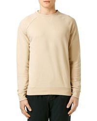 TOPMAN - Natural Raglan Crewneck Sweatshirt for Men - Lyst