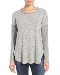 Bobeau | Gray Rib Long Sleeve Fuzzy Sweatshirt | Lyst