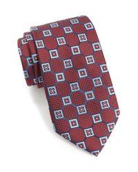 Ermenegildo Zegna - Red Geometric Medallion Silk Tie for Men - Lyst