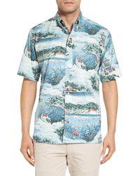 Reyn Spooner - Blue 'avalon By The Sea' Wrinkle Free Print Sport Shirt for Men - Lyst