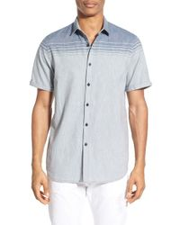 Howe - Blue 'berlin' Stripe Cotton & Linen Short Sleeve Shirt for Men - Lyst