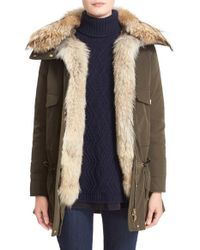 Moncler | Green 'margarita' Down Jacket With Removable Genuine Coyote Collar And Rabbit Fur Vest | Lyst