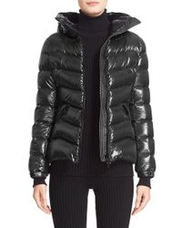 Moncler | Black 'anthia' Water Resistant Shiny Nylon Hooded Down Puffer Jacket | Lyst