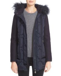 Moncler | Blue Theodora Water Resistant Hooded Jacket With Genuine Mongolian Fur Trim | Lyst