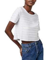 TOPSHOP - White Mini Scallop Crop Tee - Lyst