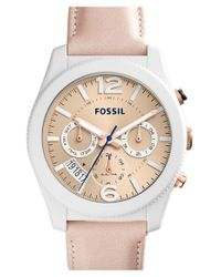 Fossil - Pink 'perfect Boyfriend' Multifunction Leather Strap Watch - Lyst
