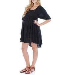 Everly Grey | Black 'willow' Print Maternity Babydoll Dress | Lyst