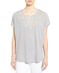 Bobeau - Gray Embroidered Dolman Sleeve Top - Lyst