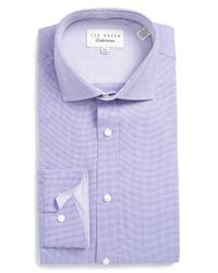 Ted Baker | Purple 'dequan' Trim Fit Texture Dress Shirt for Men | Lyst