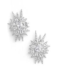 CZ by Kenneth Jay Lane | Metallic 'explosion' Cubic Zirconia Stud Earrings | Lyst