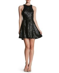 Dress the Population Black 'ginger' Sequin Fit & Flare Dress