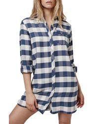 TOPSHOP - Blue Oversize Check Shirtdress - Lyst