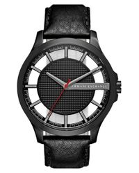 Armani Exchange - Black Leather Strap Watch for Men - Lyst