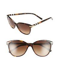Burberry - Brown 57mm Cat Eye Sunglasses - Dark Tortoise - Lyst