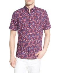 Descendant Of Thieves | Purple 'fiore' Trim Fit Short Sleeve Floral Print Woven Shirt for Men | Lyst