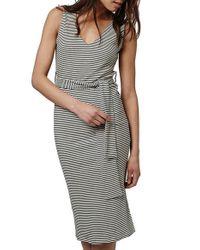 TOPSHOP - Gray Belted Stripe V-neck Midi Dress - Lyst