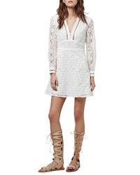 TOPSHOP - White Lace V-neck Minidress - Lyst