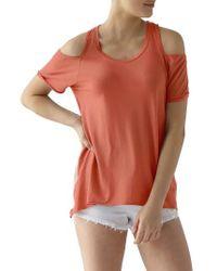 Lamade | Orange Cold Shoulder Short Sleeve Tee | Lyst
