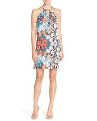 Eci Multicolor Print Charmeuse Shift Dress