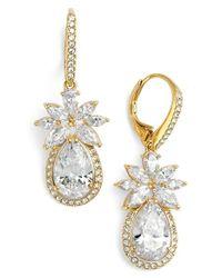Nadri | Metallic 'bloom' Cubic Zirconia Drop Earrings | Lyst