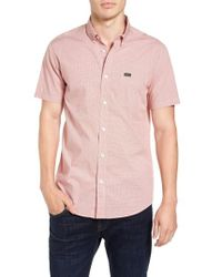 RVCA | Pink 'that'll Do' Slim Fit Microdot Woven Shirt for Men | Lyst