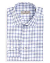 Canali - Blue Regular Fit Check Dress Shirt for Men - Lyst