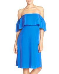Amanda Uprichard Blue 'rosa' Ruffle Off The Shoulder Silk Dress