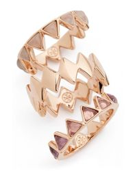 Tory Burch | Multicolor 'puzzle' Stone Rings (set Of 3) | Lyst